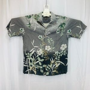 Silk Hawaiian Beach Tiki Casual Shirt - Men's L